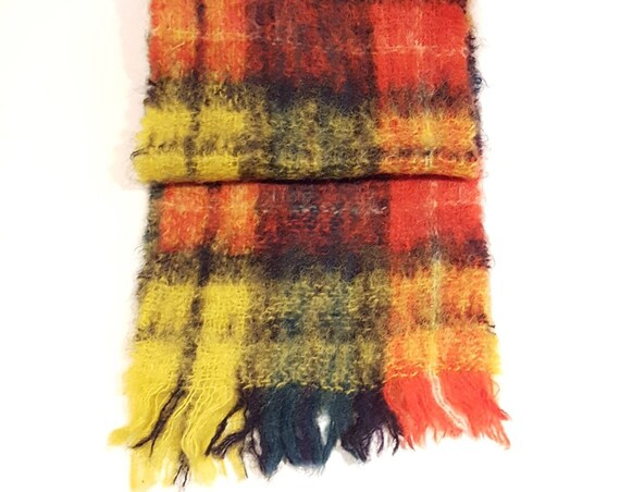 Vintage Glentana Scottish mohair and wool fringed plaid scarf | 1970s red, green yellow tartan scarf | Scottish Buchanan tartan mohair scarf