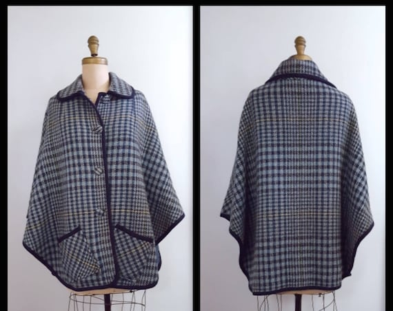 Exploring the Lake District | 1960s blue plaid cape | 60s wool cape