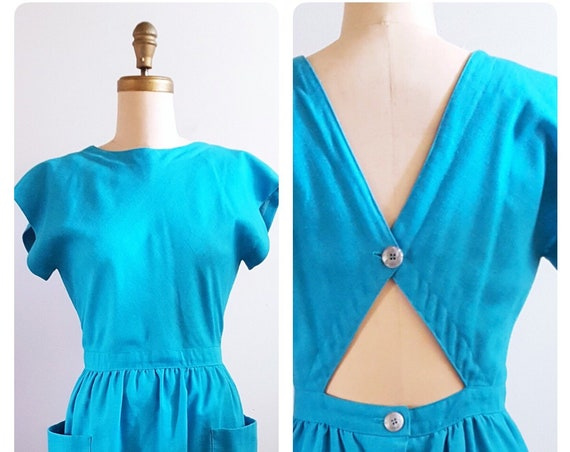 1980s turquoise sundress | 80s day dress with button back size medium