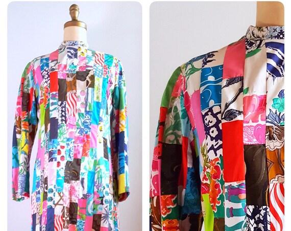 Kaleidoscope dreams | 1970s Patchwork festival hippie dress | 70s boho maxi dress | large