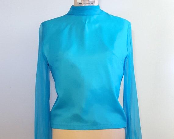 Mediterranean blue mod chiffon blouse | 1960s blue chiffon nylon lined blouse | 60s back button top
