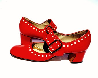 303bc64ac5a RESERVED 1960s Cherry Red Patent Mary Jane shoes