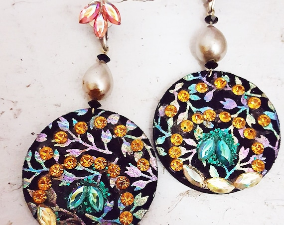 1980s drop dangle clip on earrings | 80s leather and rhinestone earrings