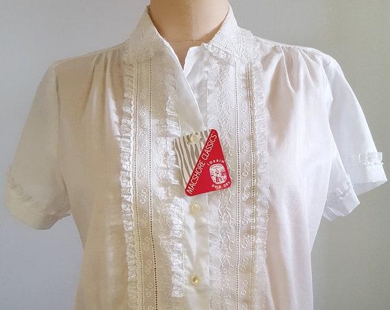 1960s white eyelet blouse with lace size medium | NOS