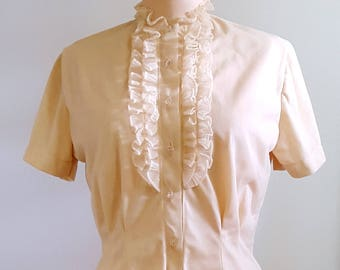 Butter cream delight | 1960s ruffled blouse | 60s nylon secretary top