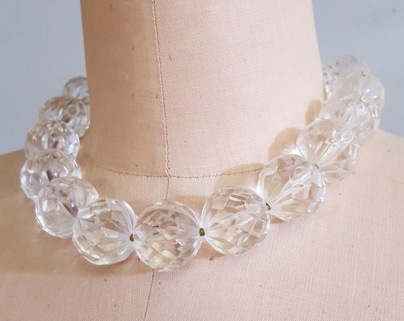 1960s oversized clear beaded necklace
