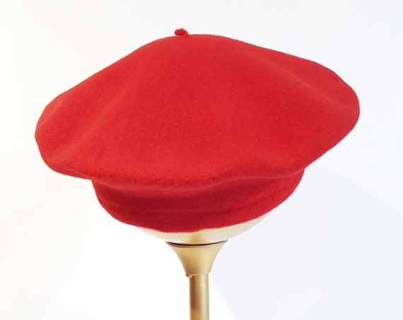 "1950s British made wool red beret hat | 50s Jonny red tam size small 10"" crown"