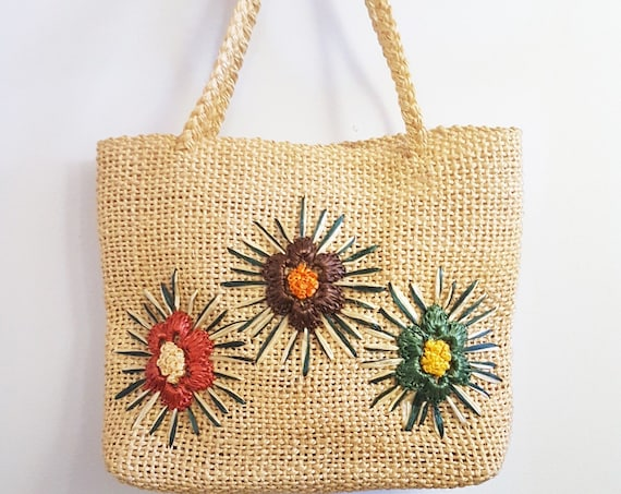 1970s hand woven wicker handbag | 70s natural woven straw tote bag with flowers
