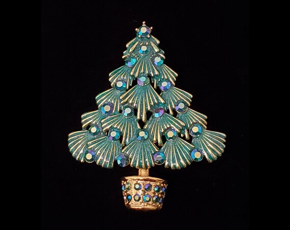 Darling Christmas Tree brooch | vintage 1960s enamel, rhinestone and gold tone pin | 60s holiday season brooch
