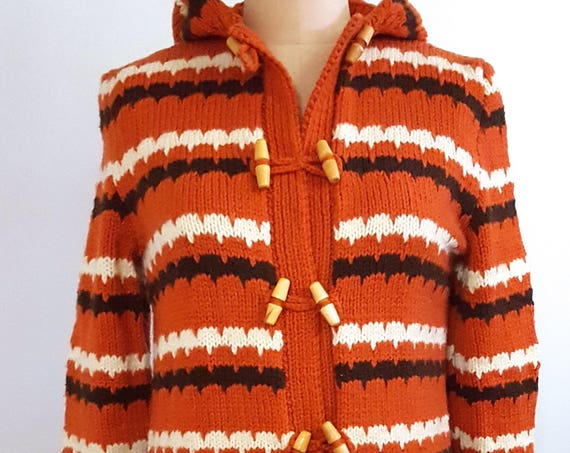1970s knitted striped hooded sweater with toggle buttons | 70s boho festival sweater