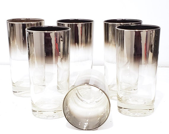 Set of 6 Dorothy Thorpe MCM Highball Silver Umbre Glasses | mad men barware glasses