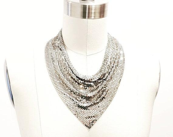 1970s Studio 54 disco glittering silver tone mesh scarf necklace    70s silver tone chainmail bib necklace