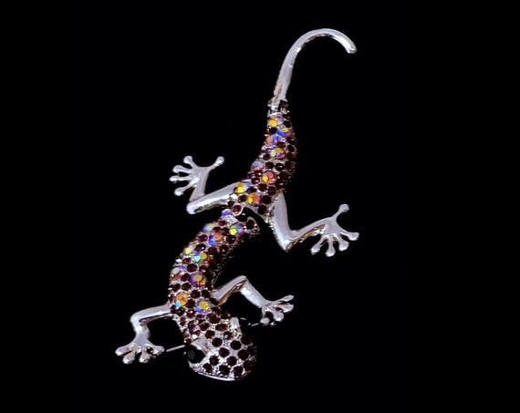 "1970s articulating lizard geicko large 4 3/4"" or 12 cm brooch"