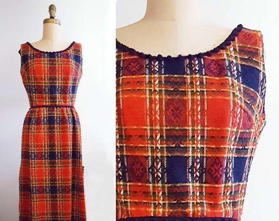 Plaid traditions | vintage 1970s plaid dress | 70s red, blue, green, yellow plaid hostess maxi dress
