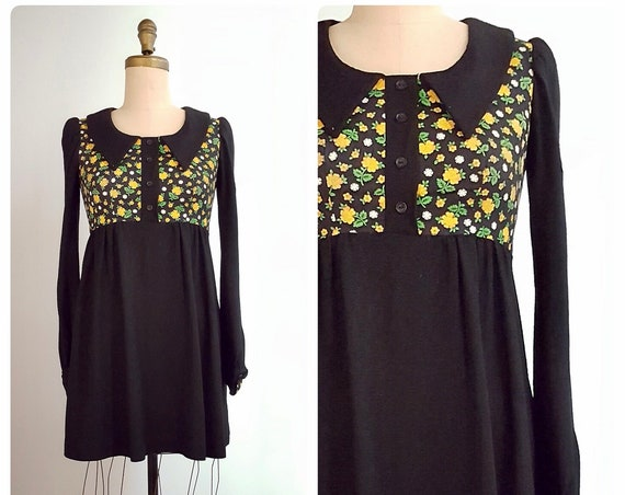 1960s mod mini dress | 60s empire waist dress size small