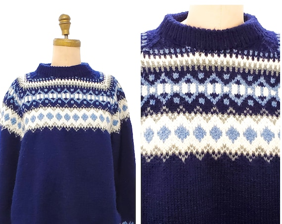 Vintage hand knit  sweater | 1970s navy blue chunky oversized sweater | 70s fair isle knit sweater | size large