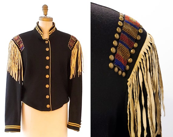 Retro Doubled D Ranchwear Black Calvary Style Jacket with Navajo Beaded Shoulder and buck skin fringe trim jacket size large