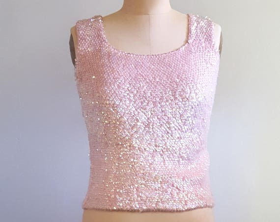 Pink shimmers | 1960s sleeveless knit sweater | 60s pink iridescent sequin shell