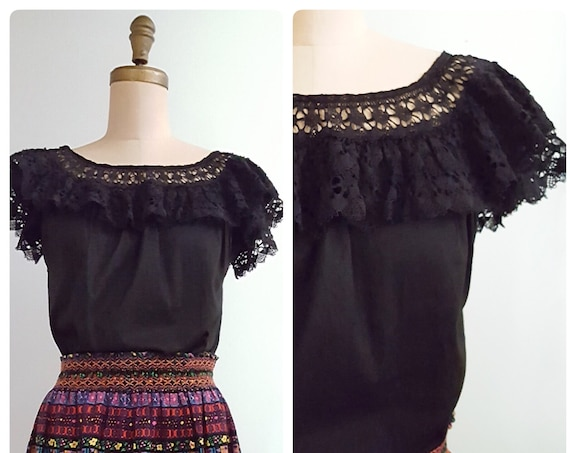 1960s black cotton Mexican peasant top with layered crocheted lace sleeves