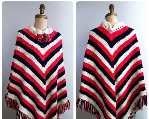 1970s red white blue poncho | 70s boho sweater cape | festival poncho