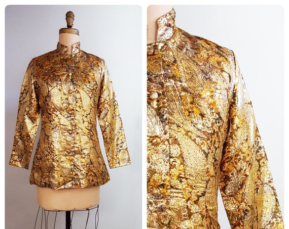 60s Groove | 1960s gold and brown paisley lame evening jacket | 60s mod Carnaby Street fashion jacket