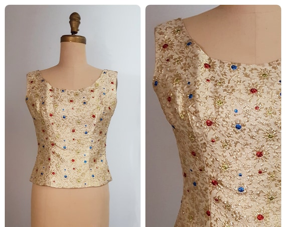 1960s sleeveless lame shell | 60s gold adorned jewel toned lame top