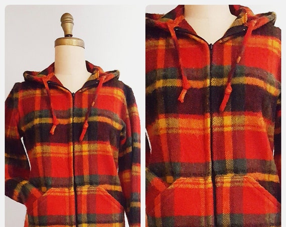 1970s Sears wool plaid hoodie size small to medium