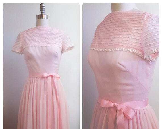 1950s Gay Gibson powder pink dress | 50s pink day dress with sheer overlay size xsmall