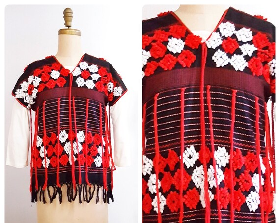 1970s boho folklore or ethnic style tunic | 70s Mexican top