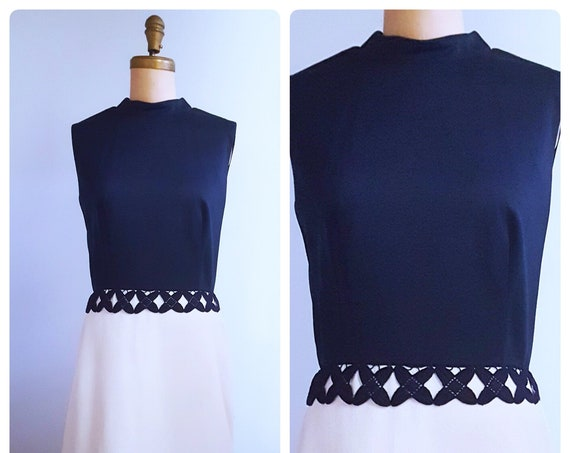 1960s navy and white dress | 60s two tone fit and flare dress size large