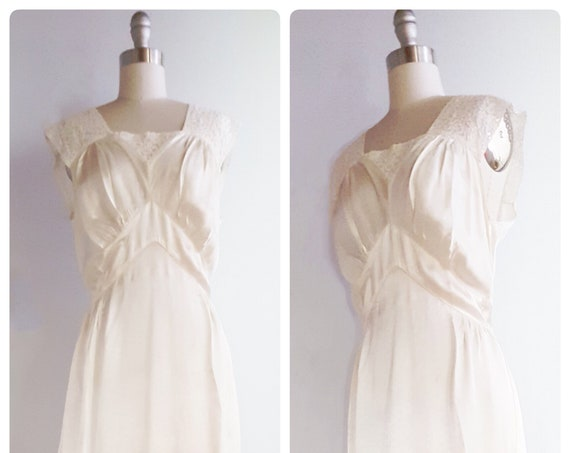 1940s white rayon and lace nightgown   40s cut on the bias sleepwear size medium