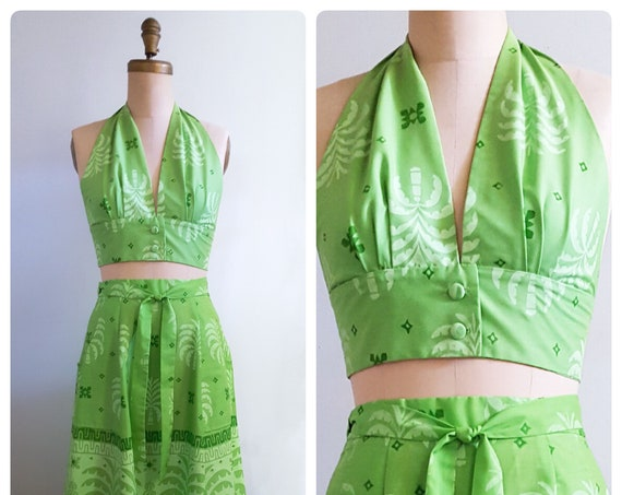 Tropical winds | 1960s Ruth Clarage wrap skirt and halter top | 60s hand printed screened 2 piece sun dress  | small to medium