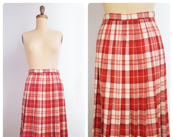 Quality 1970s Evan-Picone plaid pleated wool skirt Size Small