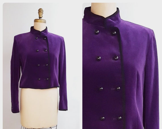 1980s purple velvet military style jacket | 80s Jaeger cropped double breasted blazer size medium