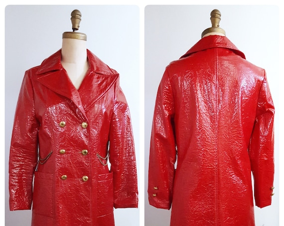 Vintage 1960s MOD crushed red patent coat | 60s spring coat size small