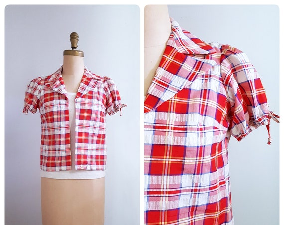 1960s red and white seersucker plaid blouse | 60s puffed sleeve cover up