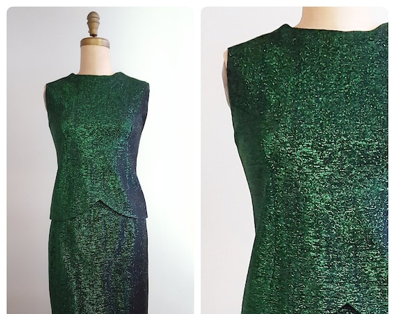 1960s green metallic shell and skirt set | 60s lurex lame top and wiggle skirt set size medium