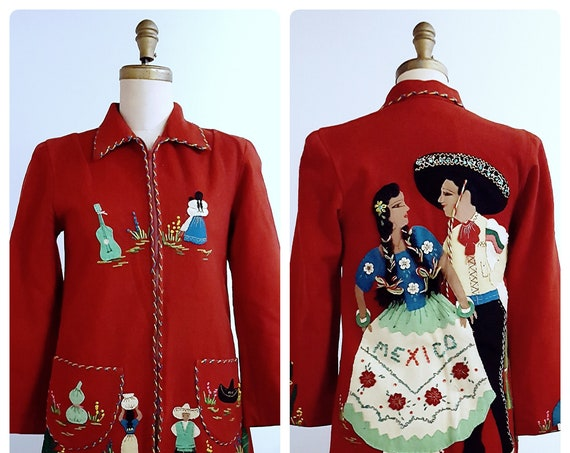 Vintage 1940s embroidered Mexican souvenir jacket | 40s red Mexican folk art wool jacket with embroidery and appliqués | small to medium