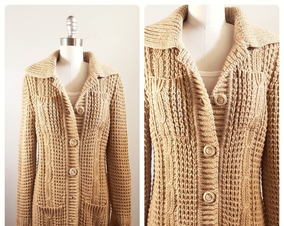 "Bonfires on the beach sweater | 1970s chunky designer ""Leo Chevalier""  knit cardigan jacket 