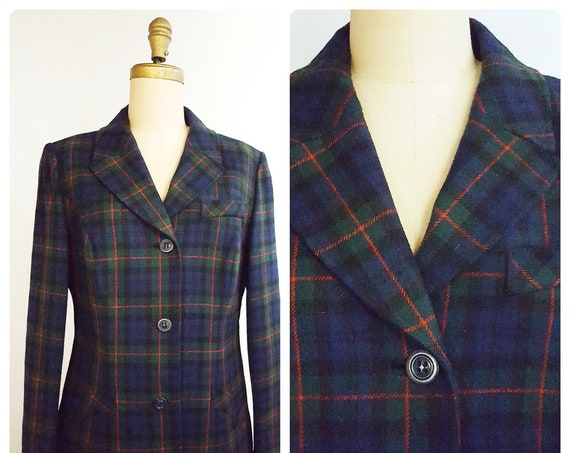 1970s Pendleton blue and green plaid blazer size 16