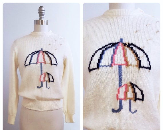 April showers bring May flowers | 1960s white sweater with umbrella motif | 60s novelty print sweater