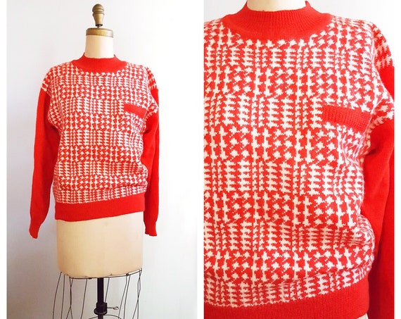 1960s red and white checked mock Turtleneck wool sweater