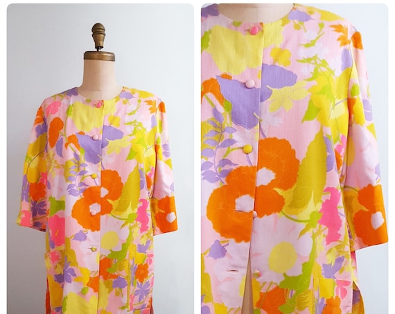 1960s Andrade bathing suit pool cover-up   60s Hawaiian beach resort wear size large