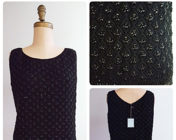 1960s sleeveless black wool beaded sweater | 60s beaded shell