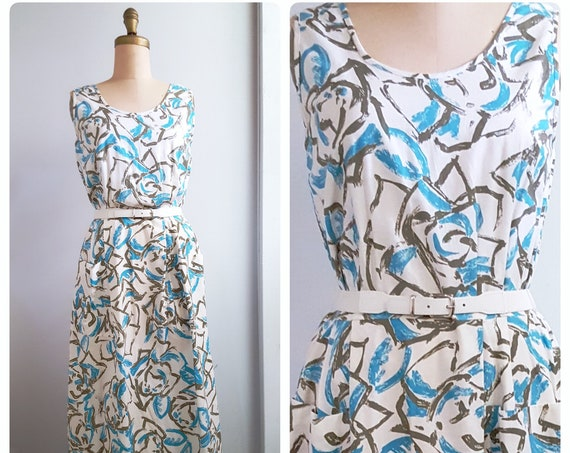 1980s turquoise and white abstract print sundress | 80s cotton summer dress size medium