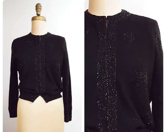 Sophisticated classic black on black | 1950s black wool cardigan beaded flowers | 50s sweater