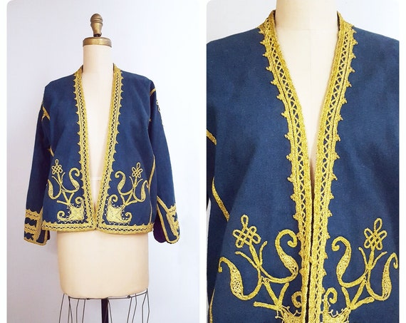 Individuality defined | vintage embroidered India wool jacket | Kashmir blue wool ethnic folk blazer | boho hippie jacket