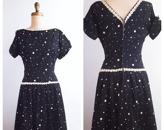 1950s black and white polka dot dress | 50s drop waisted cotton day dress size medium