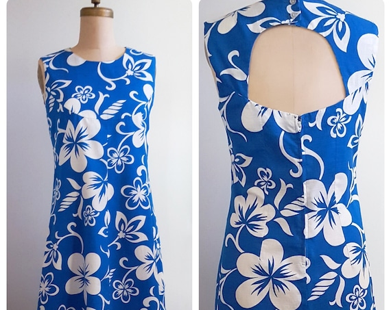 1960s turquoise and white tropical Hawaiin print dress | 60s floral a-line dress size medium