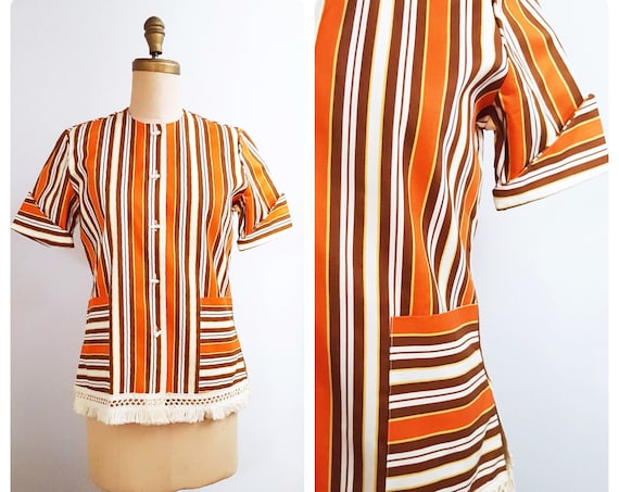 1960s Ship'N Shore striped bathing suit cover-up | 60s beach resort wear size medium